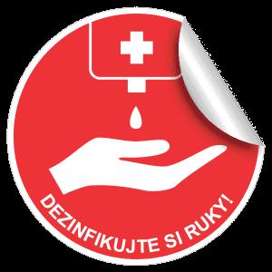 Nálepka s výzvou na dezinfekciu rúk