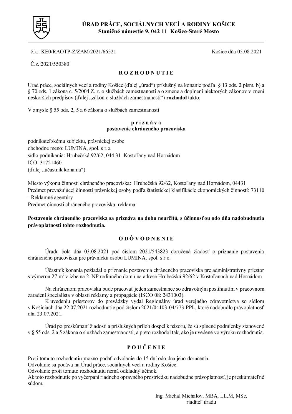 Rozhodnutie o pridelení chráneného pracoviska.