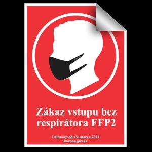 Nálepka zákaz vstupu bez resprátora FFP2